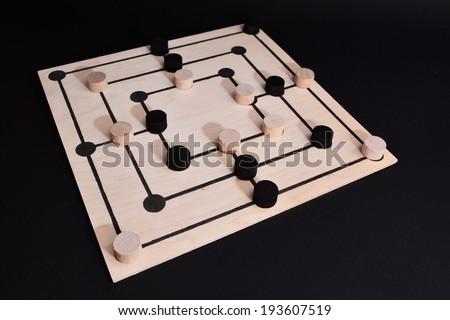 nine men's morris board game - stock photo