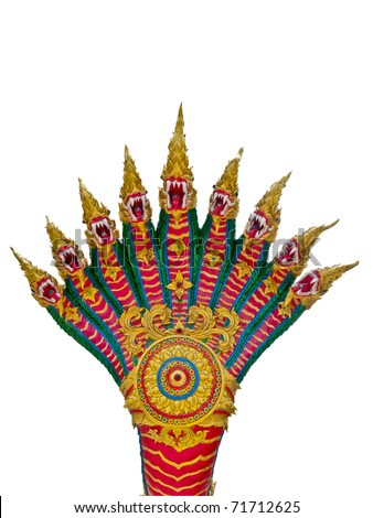 Nine of Naga head  Thai sculpture - stock photo