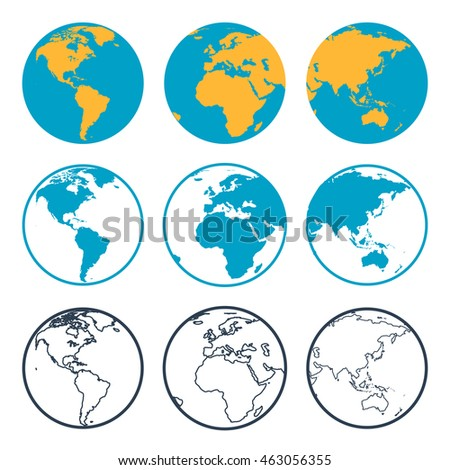 Nine planet globe with different sides in flat style and outline thin icon. View to America, Africa and Asia