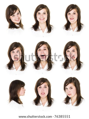 Nine portraits of a young woman isolated on white background - stock photo
