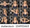 Nine portraits of grinning girls on black background - stock photo