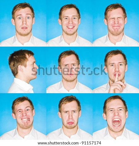 Nine portraits with different expressions of a young man on blue background - stock photo