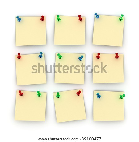 Nine Postit notes with differently colored push pins - stock photo
