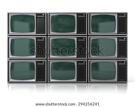 Nine 80s Vintage Portable Television Sets (Color TV) Isolated on White Background. 3D Illustration - stock photo