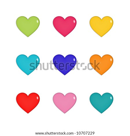 Nine shiny hearts in green, pink, yellow, blue, purple, orange and red, isolated on white - stock photo