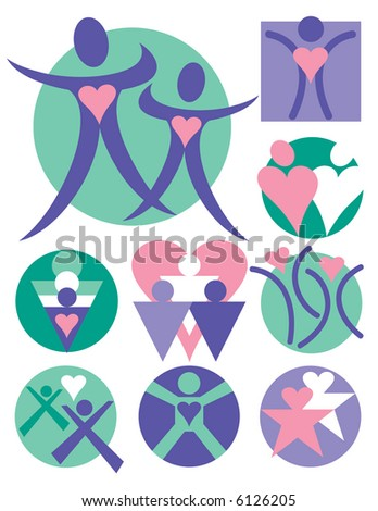 Nine symbolic illustrations of people. Vector format also available. - stock photo