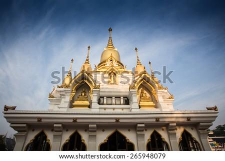 Nine tops pagoda, thai style at thai temple kushinagar, India - stock photo