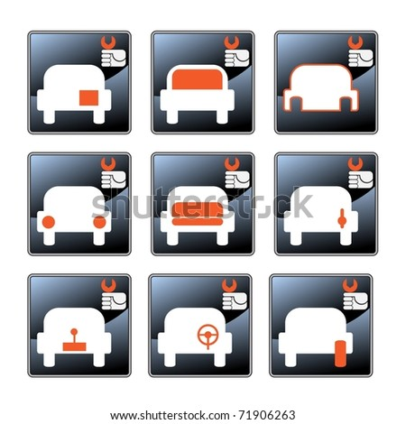 Nine vector icons with car-care centre symbolics - stock photo