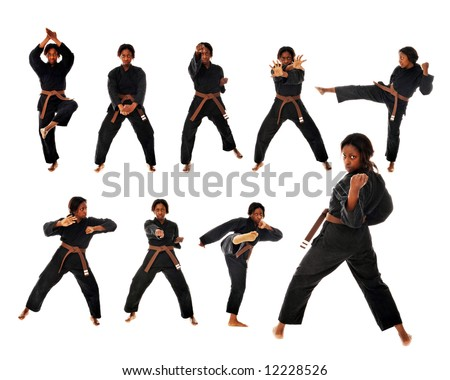 Nine views of a african american woman performing a karate kata. - stock photo