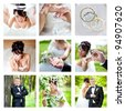 Nine wedding images joint into collage - stock