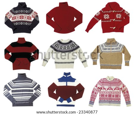 Nine winter sweaters isolated on white background - stock photo