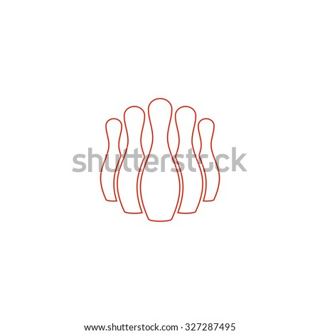 Ninepins. Red outline illustration pictogram on white background. Flat simple icon