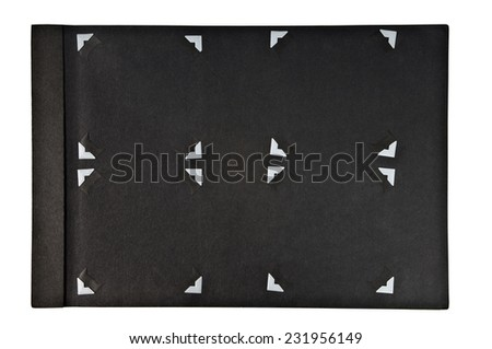 Nineteen-forties era photograph album page with corners in place for holding your images. - stock photo