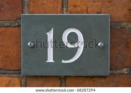 Nineteen street number - stock photo