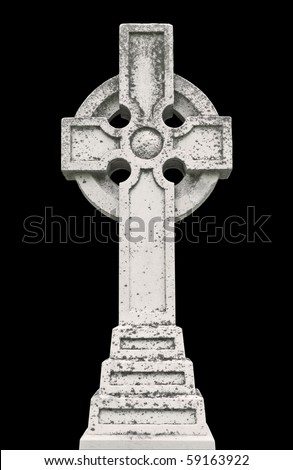 Nineteenth century Celtic cross tombstone isolated on black - stock photo