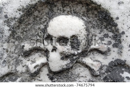 Nineteenth century gravestone detail skull and crossbones bas-relief - stock photo