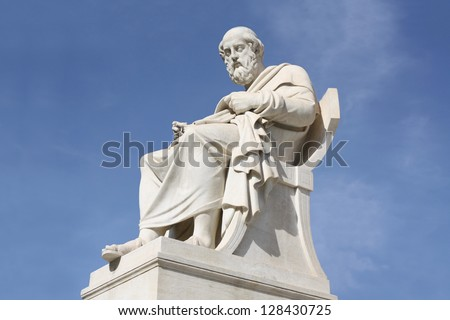Nineteenth century neoclassical statue of ancient Greek philosopher Plato outside the Academy of Arts of Athens in Greece. - stock photo