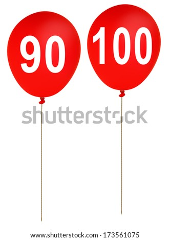 Ninety and one hundred years old, 90, 100 - red birthday party balloons - stock photo