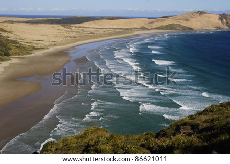 Ninety mile beach ending at Cape Reinga on the Northern most tip of New Zealand Australasia