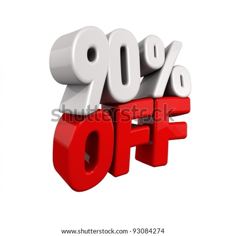 ninety Percent Automatic Reduction. 3d text for 90% OFF in red and white angled obliquely away from camera isolated on white - stock photo
