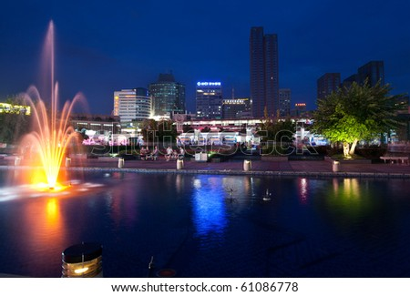NINGBO, CHINA- SEP 10: Tianyi Square at dusk on Sept 10, 2010 in Ningbo city centre, Zhejiang Province, China. Ningbo is regarded as the engine of the economy on the East coast of China.