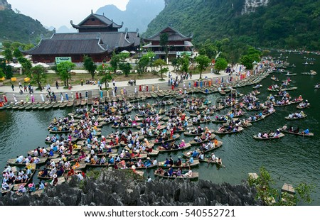 Ninh Binh, Vietnam, June 23, 2015 Ecotourism Zone, Trang An Ninh Binh. recognized world natural heritage. many tourists sailing tour