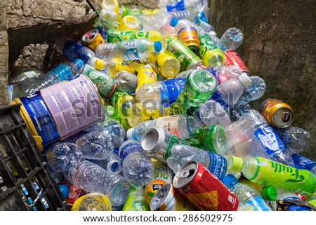Ninh Binh, Vietnam - May 16, 2015: Rubbish of drinking plastic bottles in destination travel place at Bich Dong temple