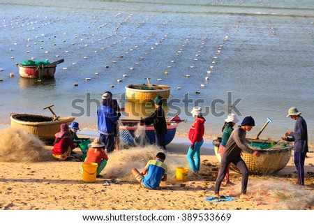 Ninh Thuan Province, Vietnam - February 27, 2016 : Fiish market on the beach. Sales fresh fish caught in the sea of new fishermen Ninh Thuan, Vietnam