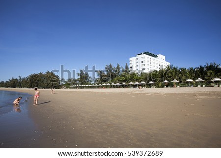 NINH THUAN,VIETNAM -AUGUST 19, 2016:Beach with beach chairs of Saigon Ninh Chu Resort on Phan Rang Beach,, Ninh Thuan, Vietnam