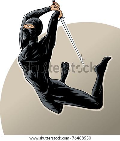 Ninja girl using the dreaded jump attack - stock photo