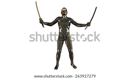 Ninja warrior with katana swords in victory pose wearing armor, isolated on white background