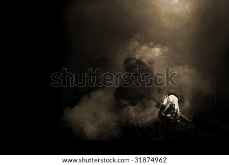 Ninja with sword at night in smoke