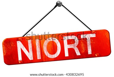 niort, 3D rendering, a red hanging sign