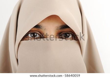 Niqab, Muslim woman, veil, scarf - stock photo