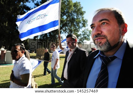 NIRIM,ISR - FEB 04:Avigdor Lieberman on Feb 04 2009:He was Israel Minister of Foreign Affairs until 18 Dec 2012,when investigation in which he was charged with fraud and breach of trust,took effect - stock photo