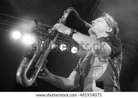 NIS, SERBIA-AUGUST 13, 2016: Bill Evans saxophonist  on NisVille JAZZ festival in Nis, Serbia. This is most famous and bigger festivals in region, one of top 10 festivals, the opinion of the Guardian