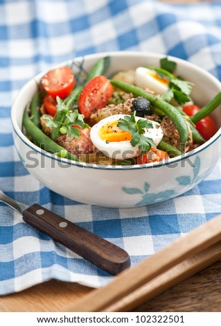 Nisoise salad in the bowl - stock photo
