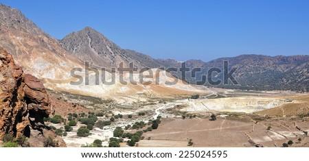 Nissyros crater Stefan,Greece - stock photo