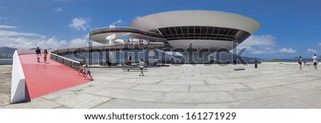 NITEROI, BRAZIL - OCTOBER 19: panoramic view of Niteroi Contemporary Art Museum (MAC) designed by Oscar Niemeyer in the city of Niteroi, Rio de Janeiro, Brazil, on October 19, 2013. - stock photo
