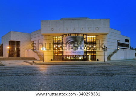 NITRA, SLOVAKIA - OCTOBER 8, 2015: The building of the Andrej Bagar Theater at evening. The theater named after Andrej Bagar - significant Slovak actor and a organizer of theatrical life in Slovakia. - stock photo