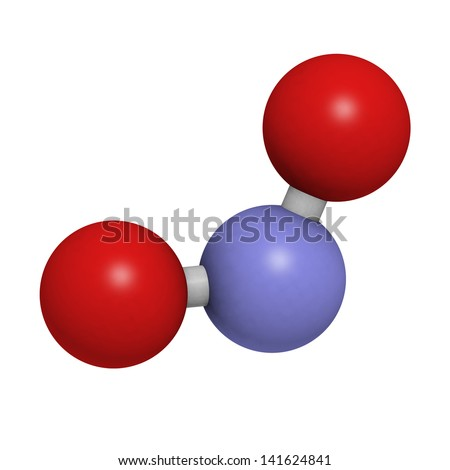 Nitrite (NO2-) anion. Nitrite salts are used in the curing of meat. Atoms are represented as spheres with conventional color coding: nitrogen (blue), oxygen (red). - stock photo