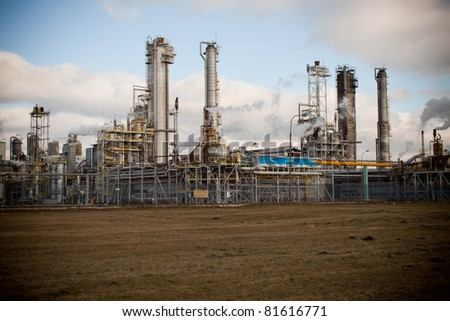 Nitrogen chemical plant in Wloclawek, Poland, night scene - stock photo