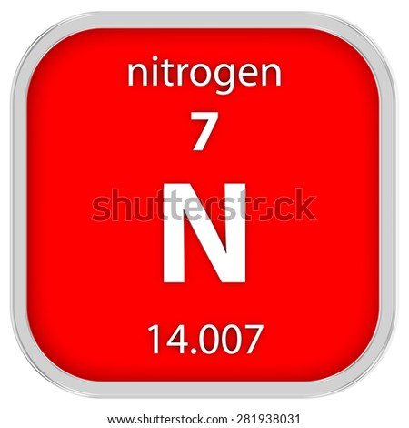 Nitrogen material on the periodic table. Part of a series. - stock photo