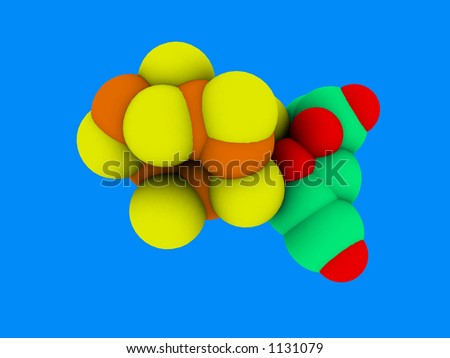 nitrogen molecule isolated on blue background - stock photo