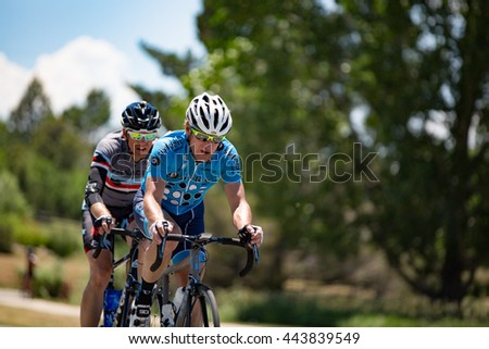 Niwot, CO, USA - June 26, 2016: Cyclists compete in the Niwot Circuit Race.
