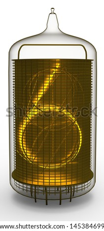 nixie tube indicator 6 - stock photo