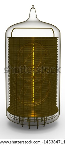 nixie tube indicator 1 - stock photo