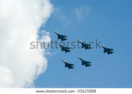 "NIZHNIY TAGIL, RUSSIA - JULY 10: Flight group ""Russian Knights"" in the air. ""Russian Expo Arms-2009"" JULY 10, 2009 in Nizhniy Tagil, Russia"