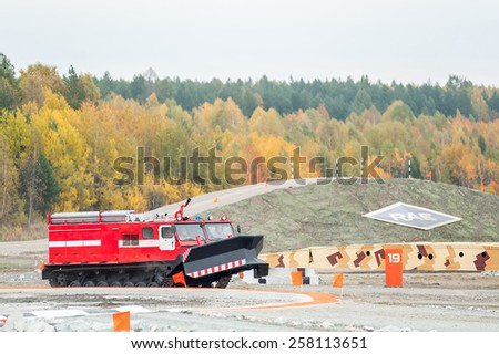 Nizhniy Tagil, Russia - September 25. 2013: Direct fire suppression vehicle MPT-521 moves. Display of opportunities of equipment. Russia Arms Expo-2013 exhibition - stock photo