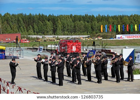 NIZHNY TAGIL, RUSSIA- AUG 23: The brass band at the opening ceremony of the exhibition RUSSIAN DEFENCE EXPO 2012 on August, 23, 2012 at Nizhny Tagil, Russia